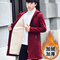 2017秋冬季外套新款韩版潮帅气加绒加厚夹克男风衣中长款冬装大衣