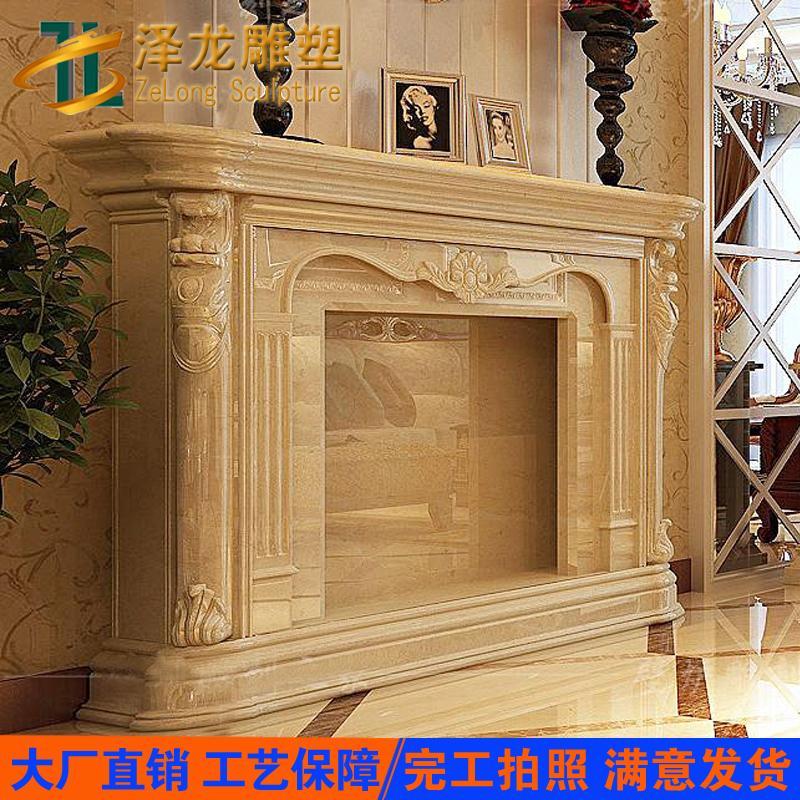 定制欧式壁炉装饰品摆件石材石雕壁炉架电视柜白色