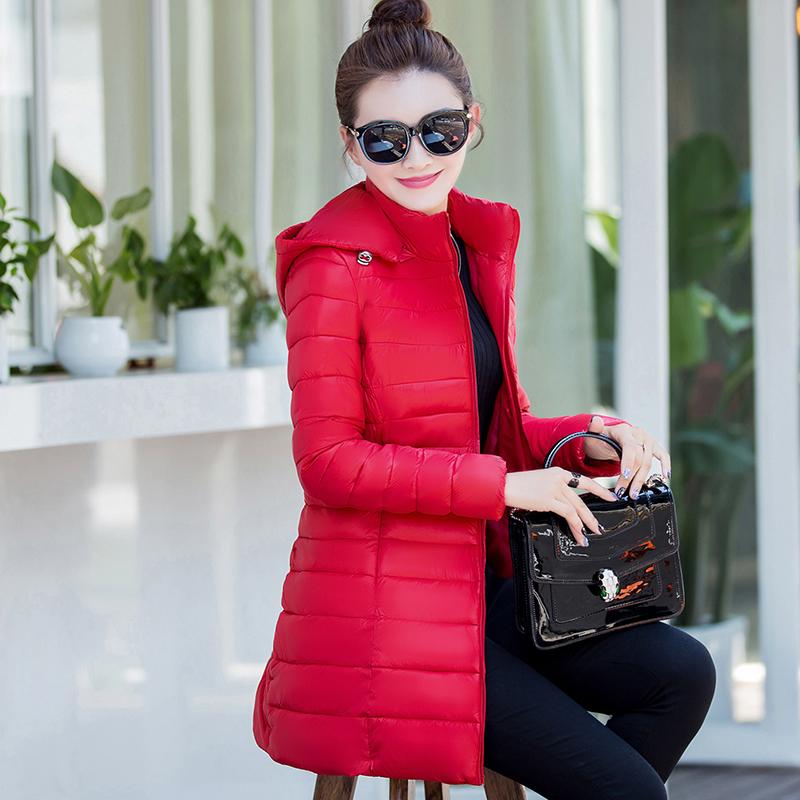 修身保暖羽絨輕薄 女中棉衣外套長款冬季