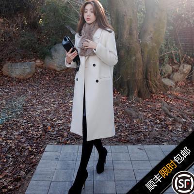 韩版2016秋冬新款毛呢大衣女中长款加棉过膝显瘦羊绒呢子风衣外套