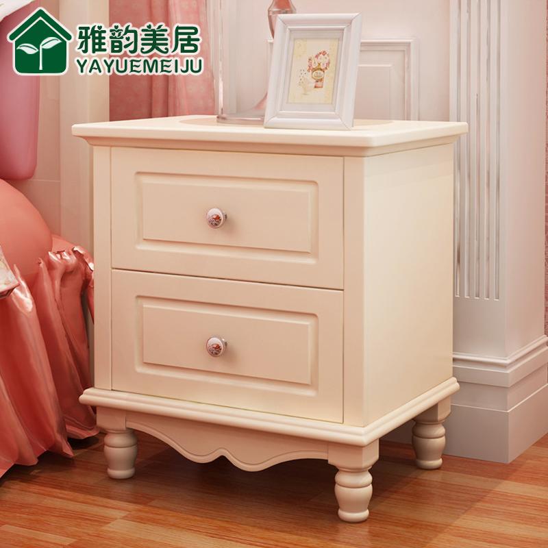 韩式田园床头柜欧式实木床头柜简约白色