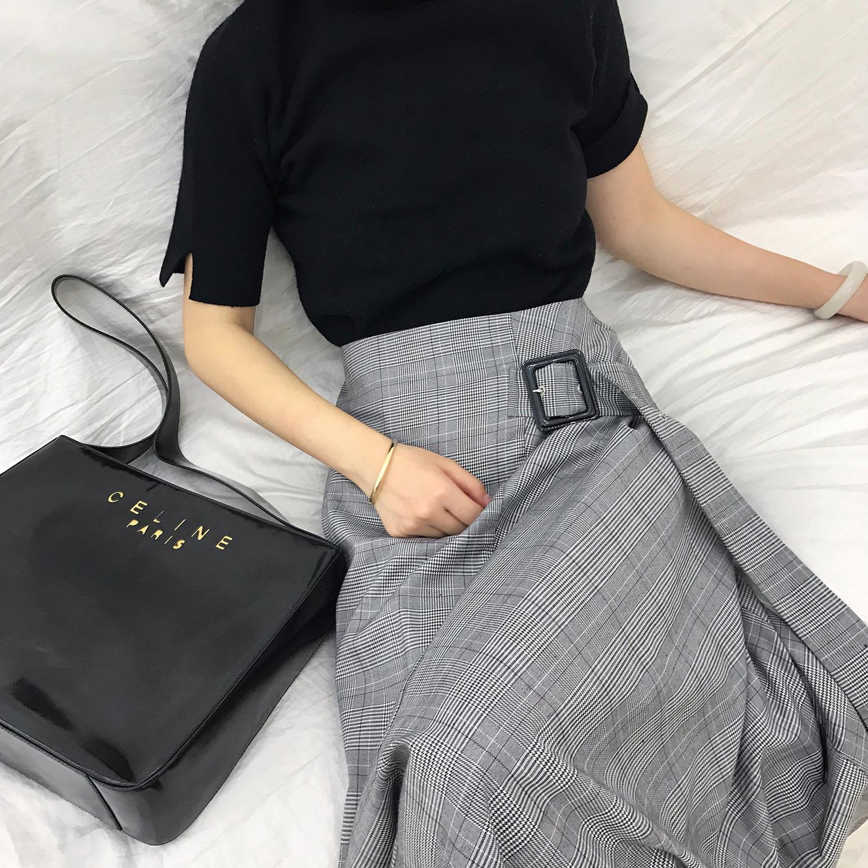 格子半身裙秋冬女2017新款不规则绑带a型复古港风裙子冬女中长款
