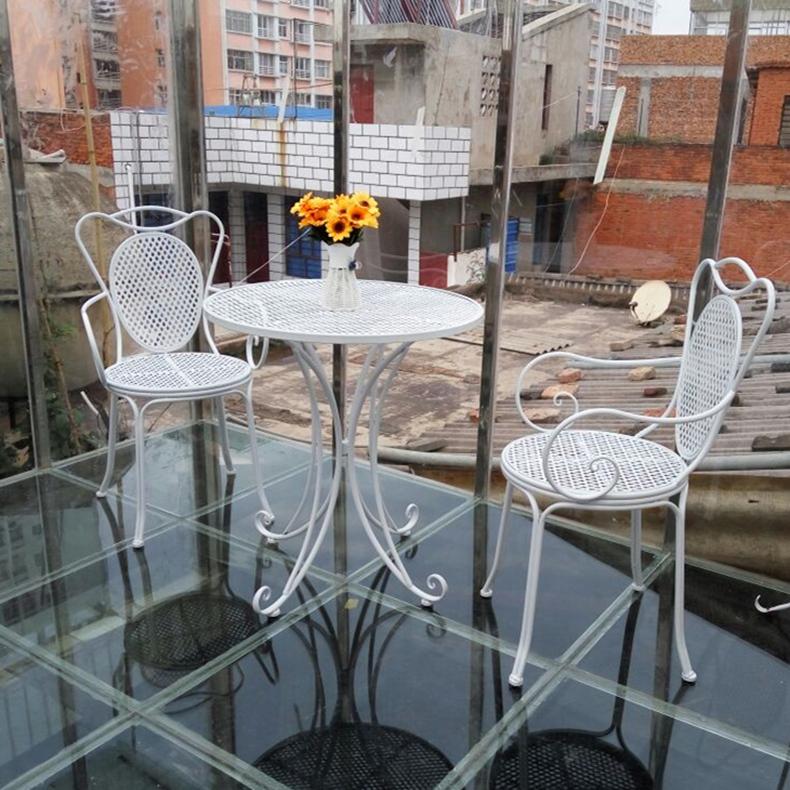 铁艺庭院户外桌椅子 欧式咖啡桌椅套装组合三件套 阳台茶几小圆桌