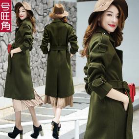2016冬装新款英伦军绿色羊毛呢外套女中长款加厚过膝修身呢子大衣
