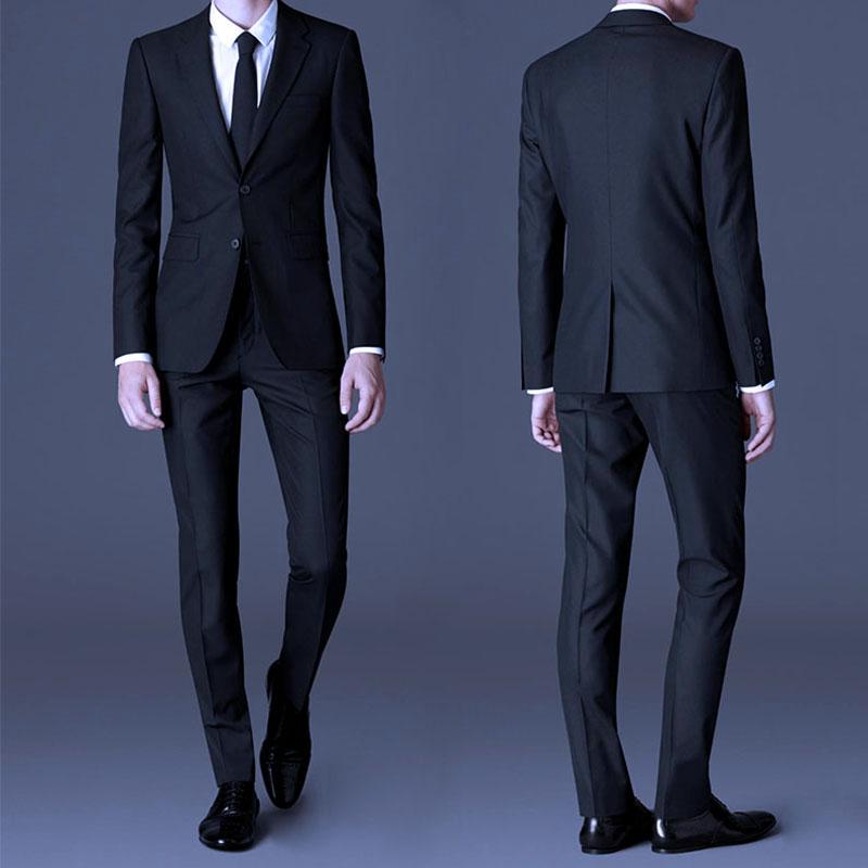 修身西服套装男男士西装三件套秋冬商务正装职业装新郎结婚礼服