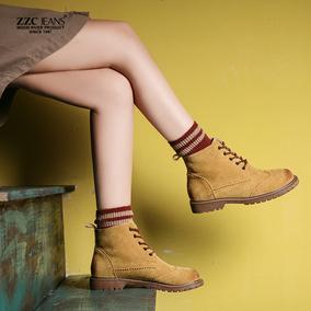 春夏季单靴粗跟短靴子真皮马丁靴女英伦风学生韩版圆头百搭平底鞋