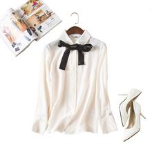 【天天特价】小香风领口蝴蝶结飘带重磅厚真丝衬衫长袖翻领上衣女