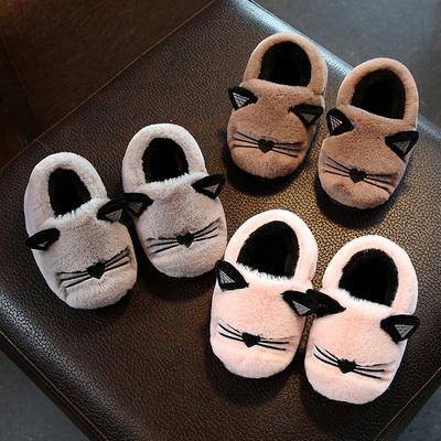 宝宝棉拖鞋1-3岁冬季室内防滑儿童拖鞋男童女童可爱包跟居家棉鞋