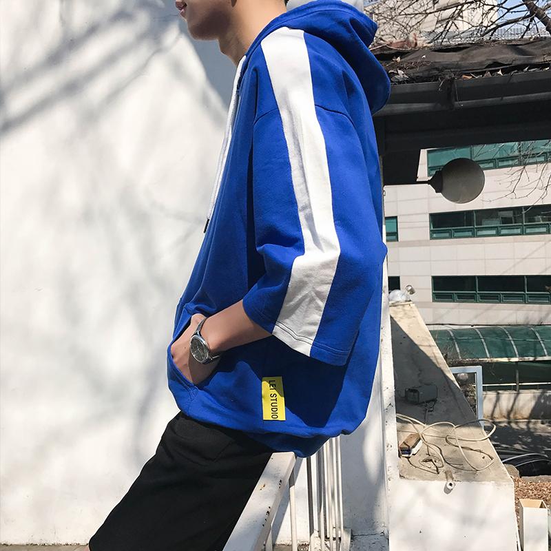 文艺男士秋季新款韩版潮流港仔七分袖T恤卫衣连帽男学生宽松半袖