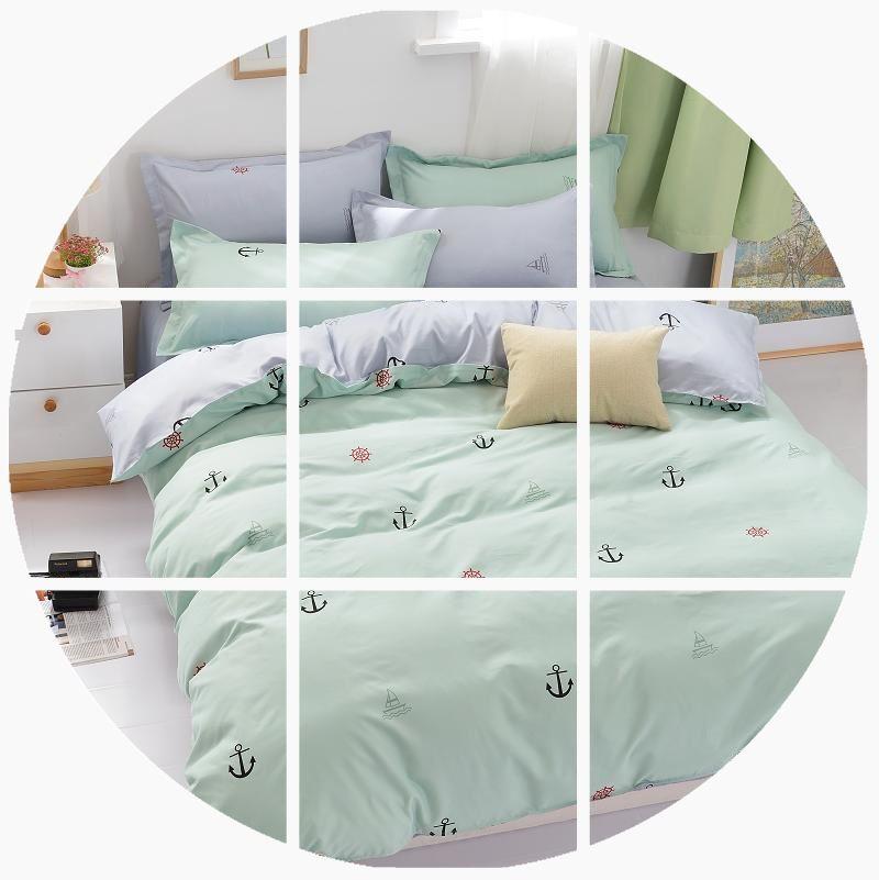 韩版棉简约学生宿舍三4件套床上用品1.5m被套床单床笠家纺 四件套