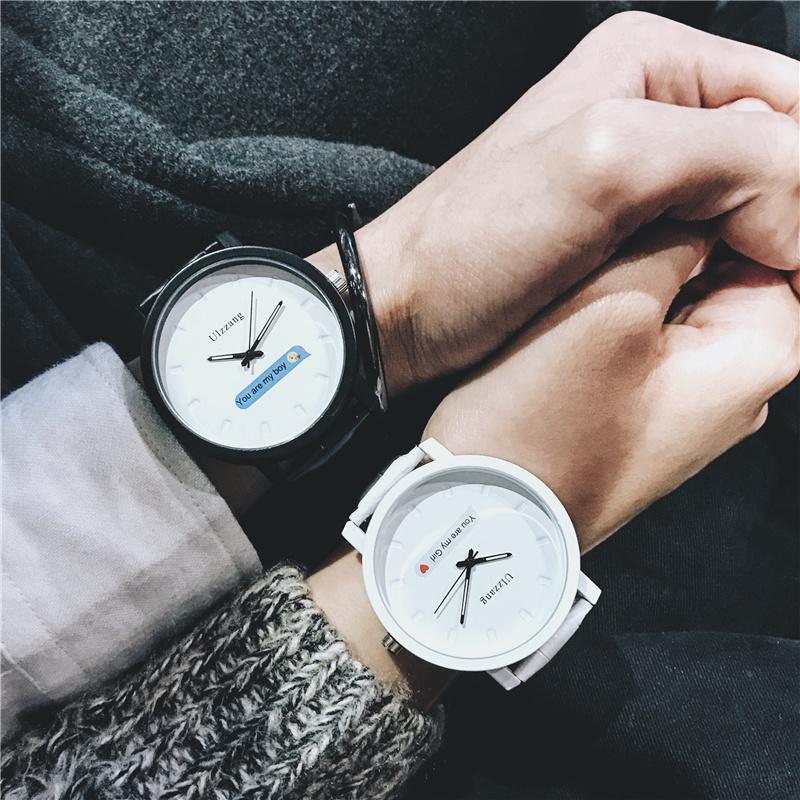 手表女初高中学生韩版简约潮流ulzzang个性男表黑白情侣手表一对图片