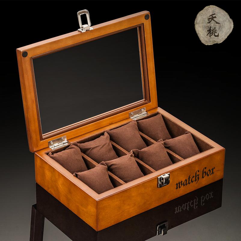夭桃欧式复古木质天窗手表盒子八只装手表展示盒首饰手链盒收纳盒