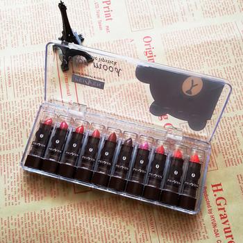 韩国小棕黑熊口红小样10支装保湿