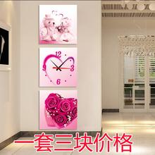 静音 饰画 创意客厅挂钟现代玄关装 无框画挂钟三联画艺术钟表时尚
