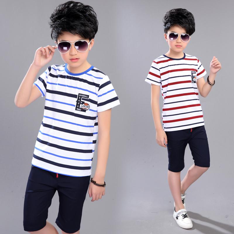 运动套装衣服夏季中大童童装男童儿童条纹短袖两件套夏装