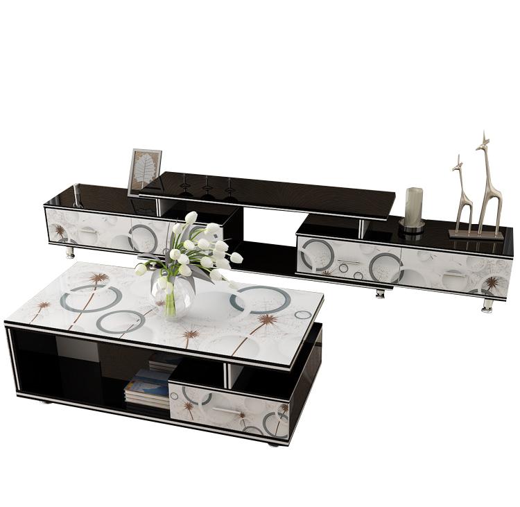 客厅现代简约钢化玻璃电视柜茶几组合小户型电视机柜套装伸缩地柜
