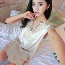 家居服 真丝睡裙冰丝性感蕾丝吊带丝绸睡衣韩版 夏季女士短袖 新款
