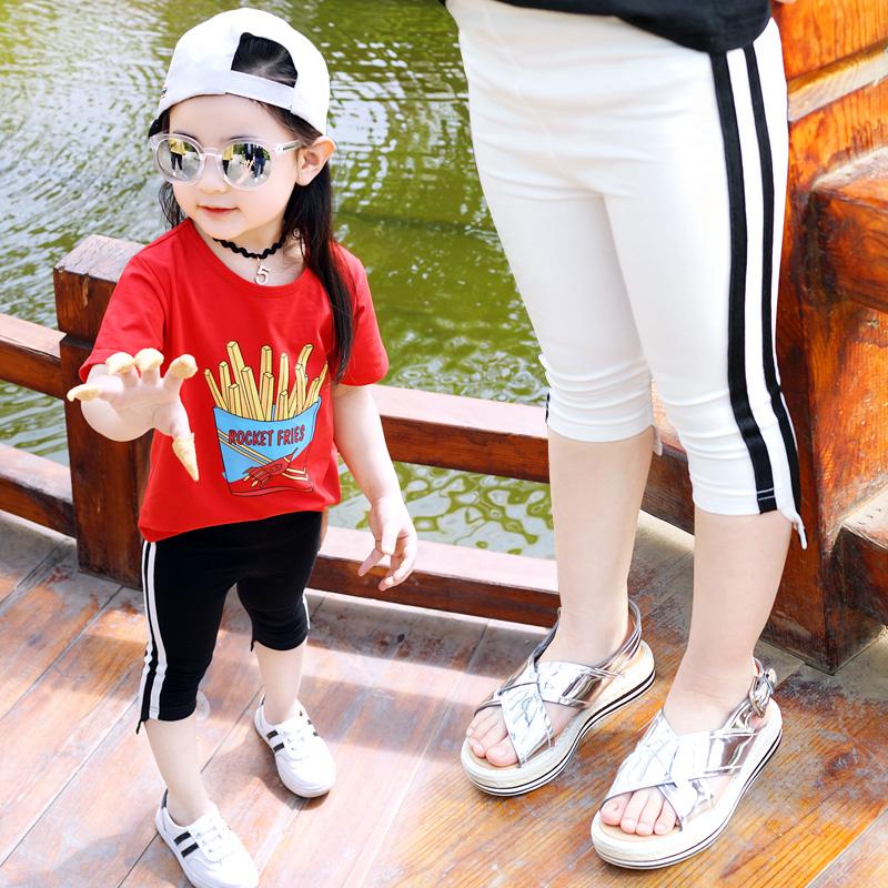 女童褲子寶寶修身七分褲底褲童裝夏裝小童條紋兒童