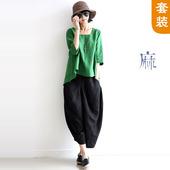 天天特价夏季女装棉麻民族风文艺范中袖宽松休闲亚麻上衣裤子套装