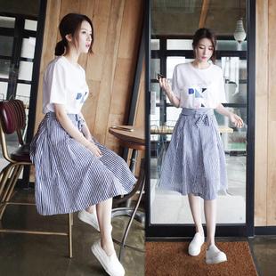 夏季连衣裙女2017新款小清新A字裙子韩版时尚学生两件套装 中长款