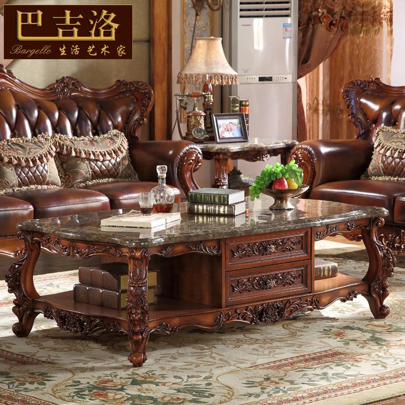 欧式大理石茶几实木雕花奢华客厅茶几电视柜组合美式