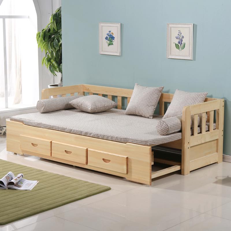 实木沙发床 多功能可折叠推拉两用小户型单人1.5米1
