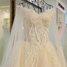 披肩纱拖尾婚纱xj16019 奢华一字肩显瘦时尚 新款 2017冬季新娘韩版