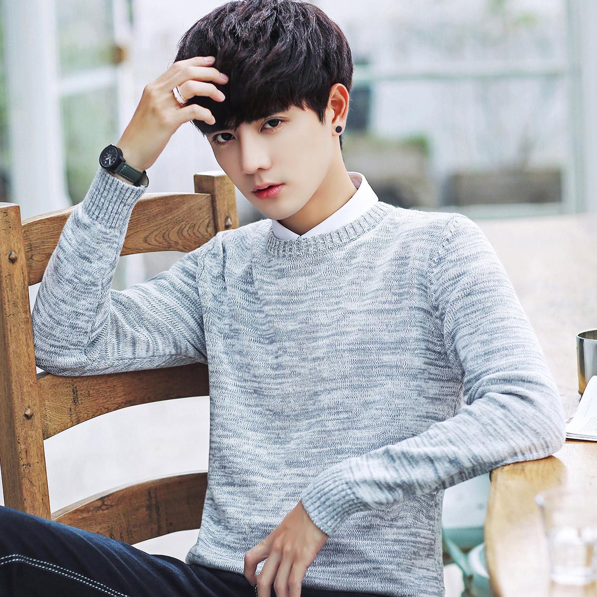 男士毛衣韩版圆领针织衫冬季加绒加厚打底毛衫毛线衣潮流个性男装