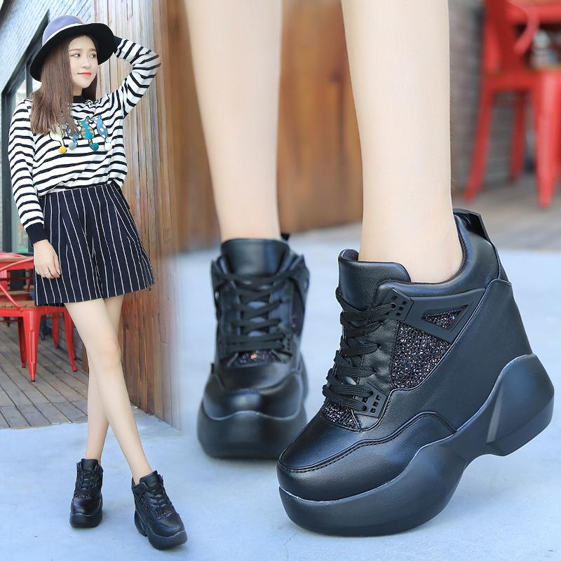 厚底内增高女鞋12cm超高跟秋冬韩版松糕运动鞋系带休闲鞋学生单鞋 - 女鞋秋高跟