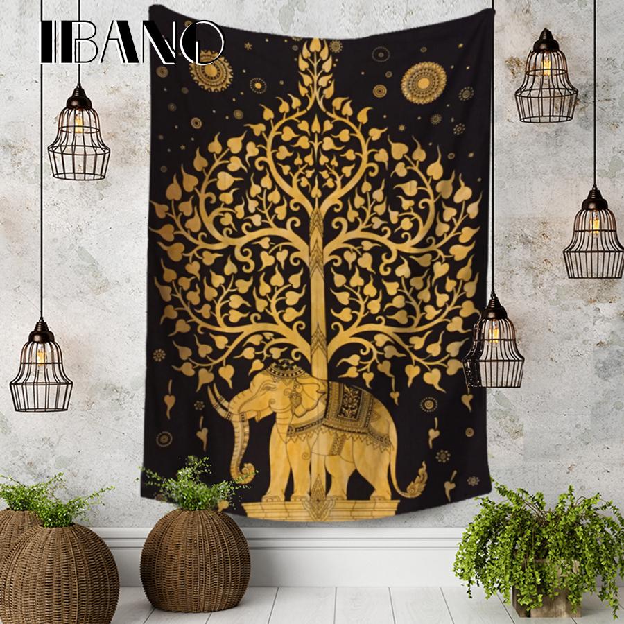 IBANO欧美印度挂毯挂布背景布桌布波西米亚大象房间卧室装饰布
