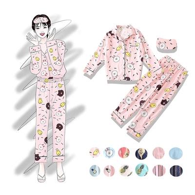 tstz   秋冬新款长袖印花卡通可爱小清新学生三件套套装睡衣女