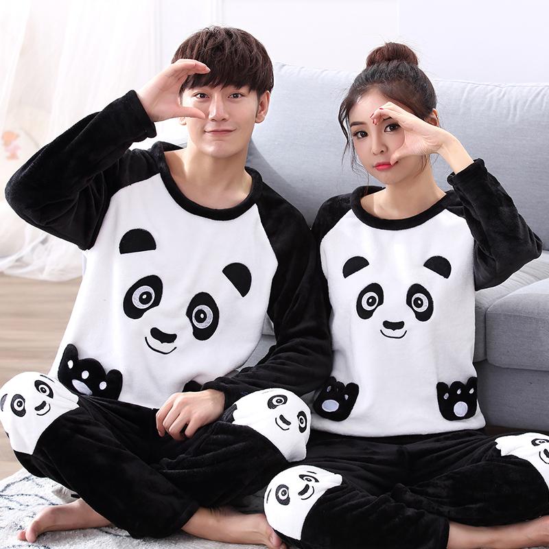 秋冬季情侣睡衣珊瑚绒女生卡通黑白熊猫可爱男士家居服加厚长毛绒