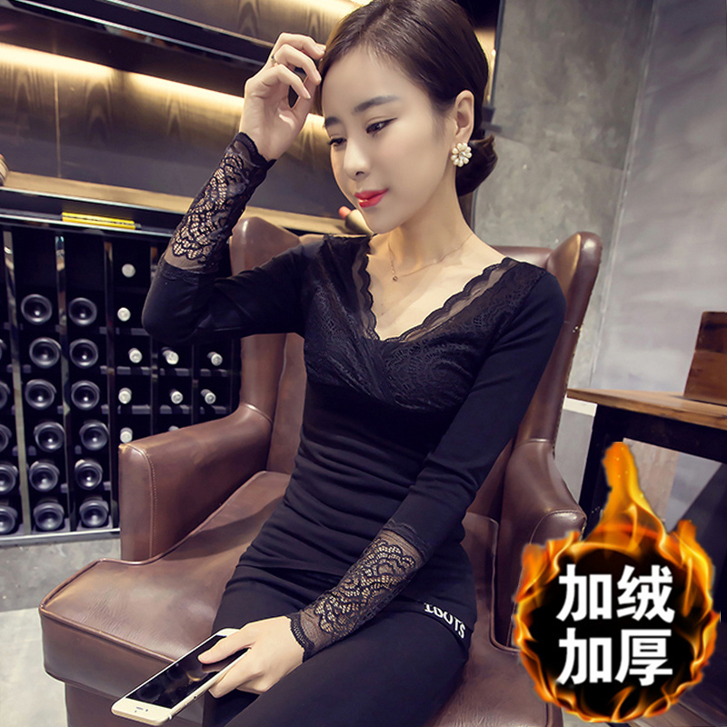 蕾丝打底衫女长袖2017秋冬韩版保暖加绒加厚V领套头针织衫上衣服
