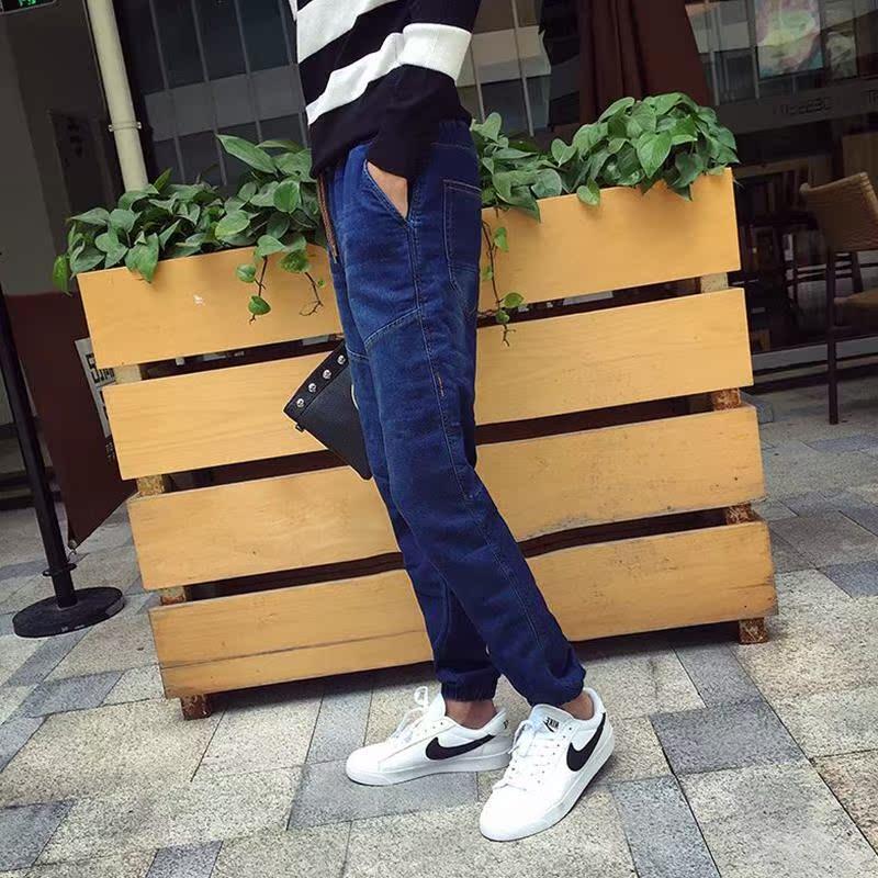 长裤青年中低腰男士裤子宽松男装新款加绒水洗哈伦裤常规休闲裤
