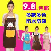 厨房围裙韩版时尚可爱卡通情侣围裙防水定做工作广告围裙定制印字