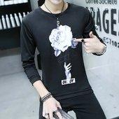 学生外套潮 圆领加绒加厚修身 长袖 青少年T恤韩版 套头衫 秋冬季男士