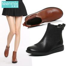 天美意冬季专柜同款牛皮简约女鞋女短靴6US44DD6Teenmix