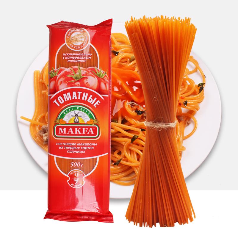 俄罗斯进口马克发番茄意大利面条通心粉意面早餐速食500g正品