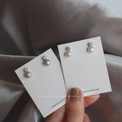 包邮! 通体 925纯银 梨花同款 天然淡水珍珠馒头珠 6爪锆钻 耳钉