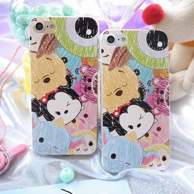 迪斯尼大眼仔草莓熊小飞象iPhone7浮雕硅胶手机壳苹果6plus挂绳6S