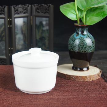 陶瓷纯白 隔水炖盅4寸汤盅 带盖