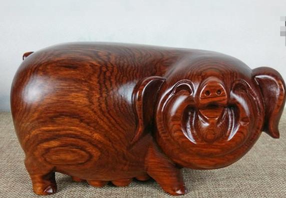 红木工艺品花梨木实木雕刻吉祥笑脸猪摆件 木雕福气猪情侣猪