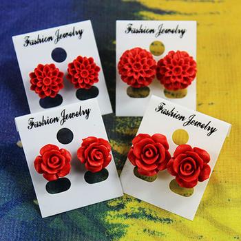 漆雕玻璃珠子耳钉饰品玫瑰花 民