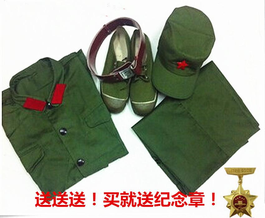 老式65式怀旧军干服越战涤卡的确良解放红卫兵聚会绿军装套装包邮