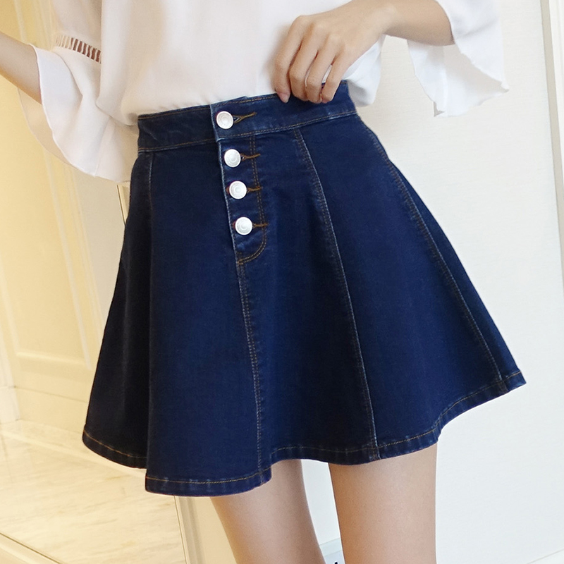 牛仔短裙高腰蓬蓬边韩版显瘦大码荷叶半身 百褶裙