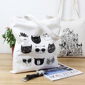 可爱猫咪帆布袋女单肩韩版 环保购物袋简约百搭手提学生包 哆彩棉