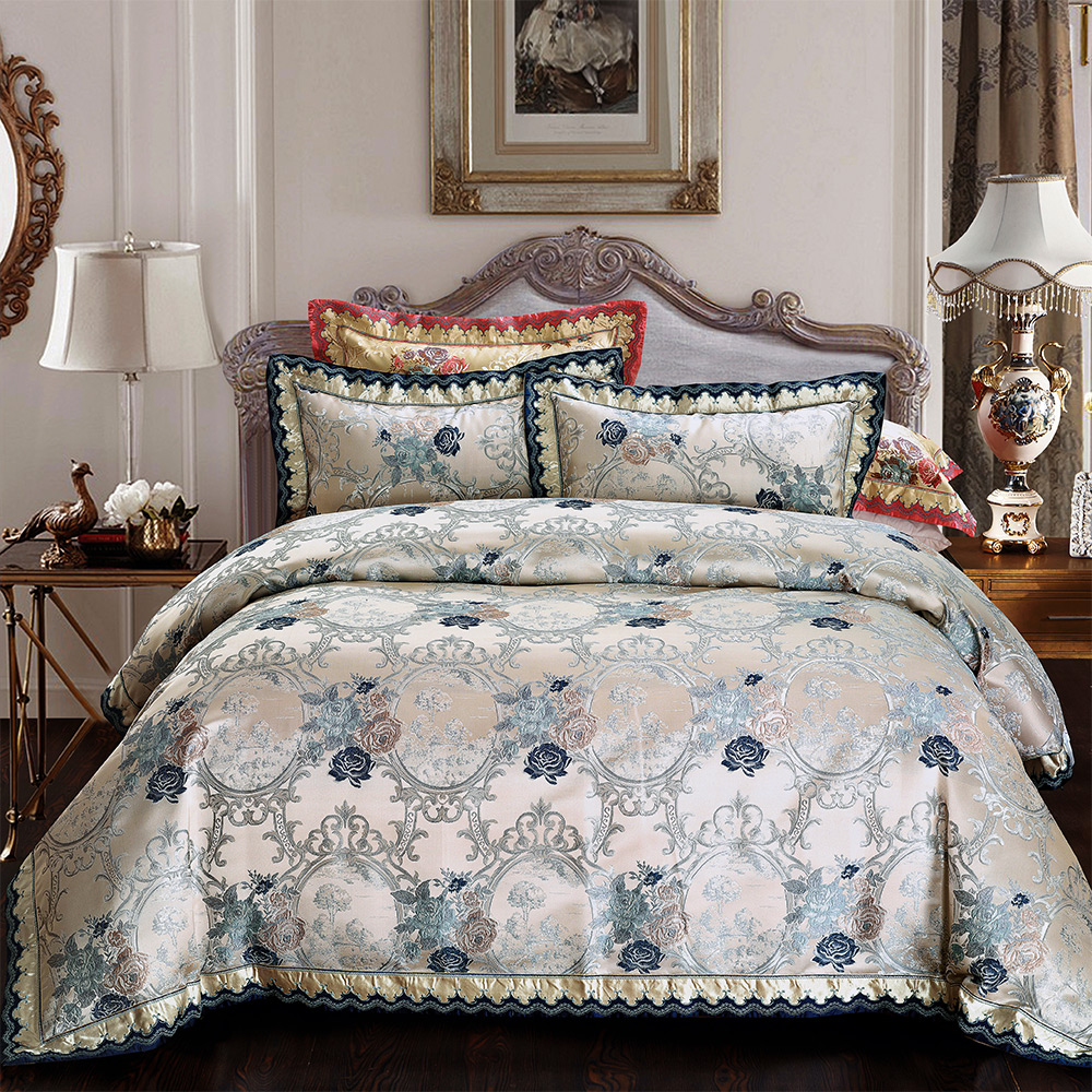欧式高档贡缎提花样板房别墅床上用品多件套 奢华床盖四件套xj-17