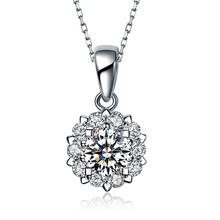 白金项链锁骨链子钻石吊坠日韩饰品莫桑石坠子女友生日情人节礼物
