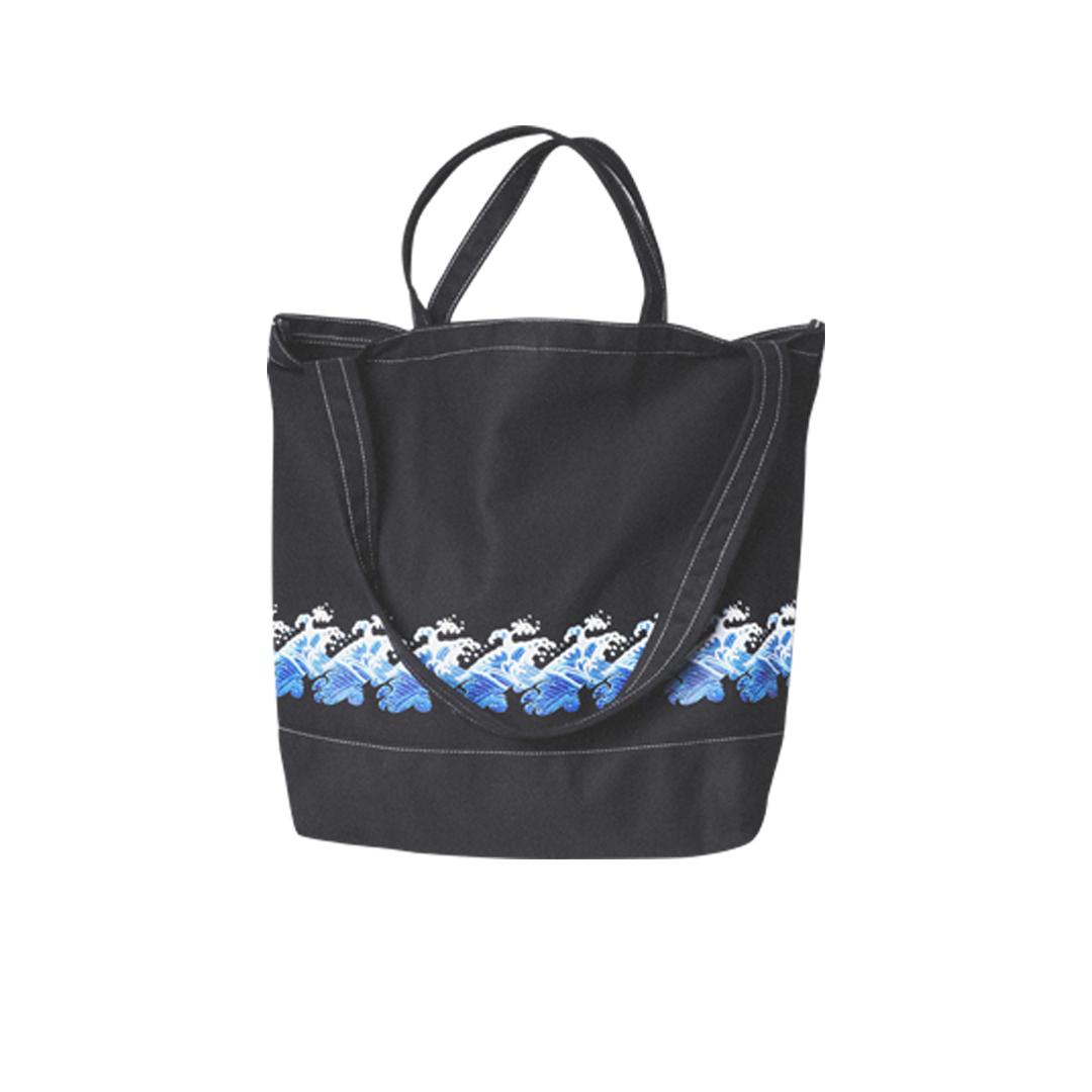FLOAT U-LINE 斜挎手提兩用浮世繪海浪帆布包購物袋學生環保袋子