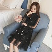 天天特价 1娉逸-b143新款2017春V领钉珠背心套装蕾丝连衣裙A-05